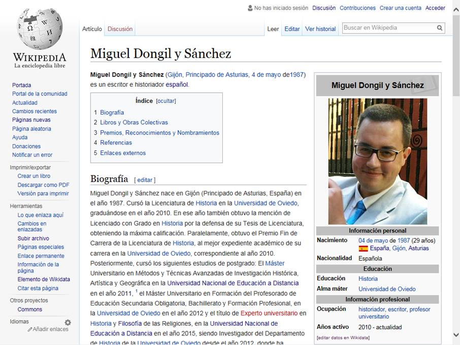 Reseña Wikipedia sobre Miguel Dongil